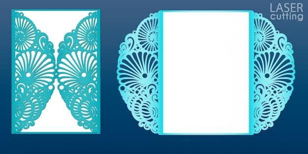 Лазерная резка свадебные приглашения шаблон в морском стиле ,. умирают вырезать бумажную карточку с рисунком ракушек и звезд. карта створки бумаги выреза для лазерной резки или высечки шаблона.