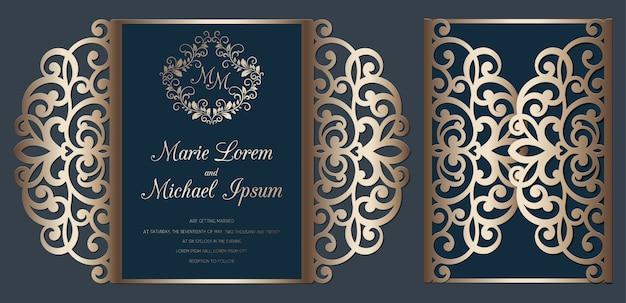 Лазерная резка свадебные приглашения ворота сложить шаблон карты. карта резки бумаги с кружевным рисунком.