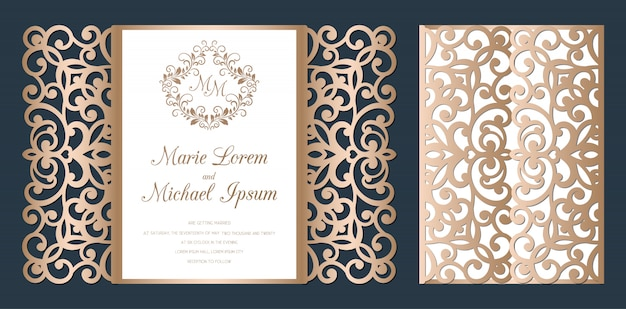 Laser cut wedding invitation gate fold card template  . paper cutting card with lace pattern.