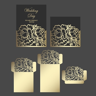 Laser cut wedding invitation pocket fold envelope design with peony pattern. floral lace design. cutting plotter template.