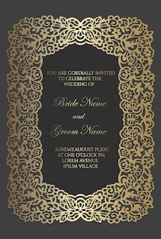 Laser cut wedding invitation template with foral lace border.