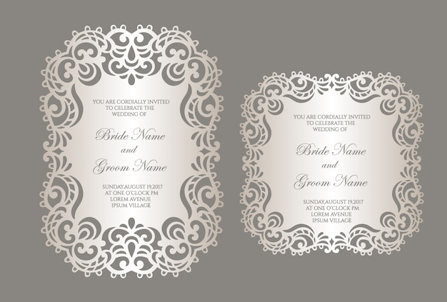 Laser cut wedding invitation template with lace border. flat frame card mockup.