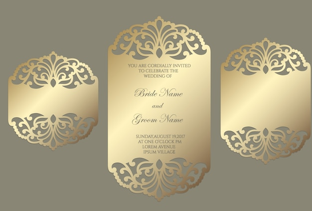 Laser cut wedding invitation template with ornate lace border. flat frame card mockup.