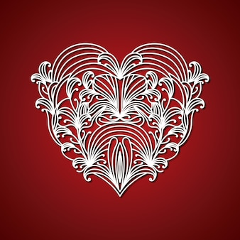 Лазерная резка абстрактного сердца с декоративными формами