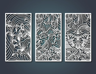 Laser cutting rectangular frames with decorative floral forms