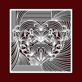 Лазерная резка квадратной рамы с декоративным сердцем