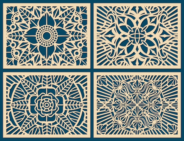 Laser cutting wall pattern canvas vector template panel