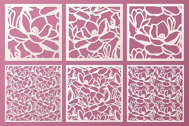 Laser and die cut ornamental panels template set with pattern of magnolia flowers. cabinet fretwork panel. lasercut metal panel. wood carving.