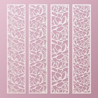 Laser and die cut ornamental panels template set with pattern of magnolia flowers. lace paper bookmark, cutting border templates. cabinet fretwork panel.