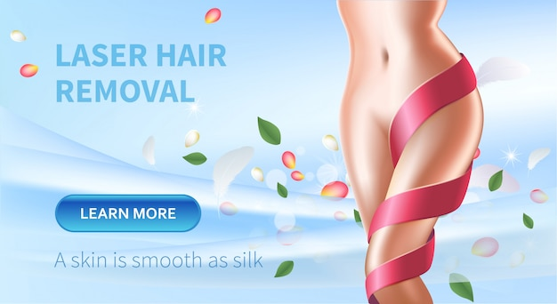 Laser hair removal beauty banner with female body