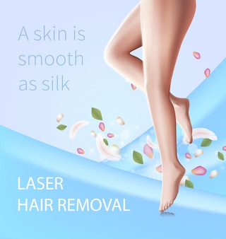 Laser hair removal, beauty procedure, female legs