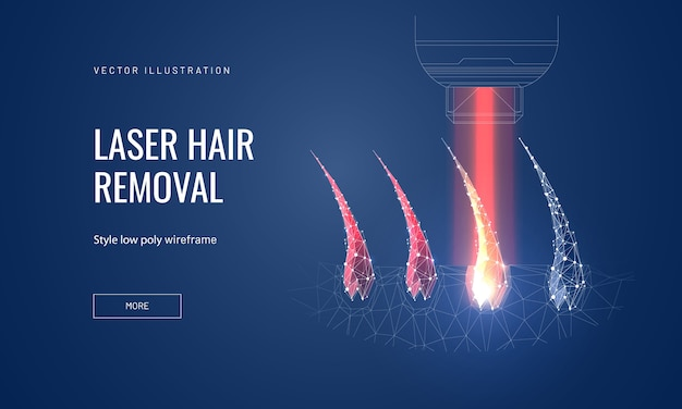 Laser hair removal concept in polygonal futuristic style for banner
