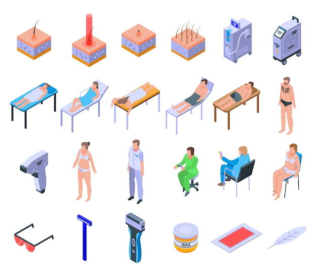 Laser hair removal icons set