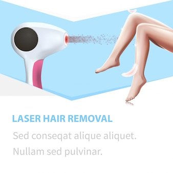 Laser hair removal. light feather touch woman legs