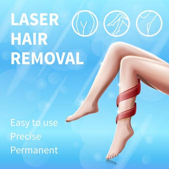 Laser hair removal square banner with female legs