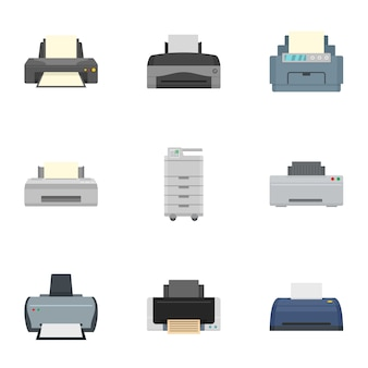 Laser printer icon set, flat style