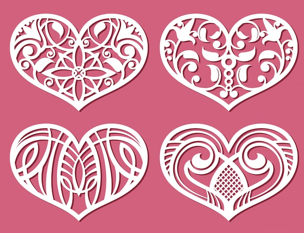 Laser printing romantic lacy wedding hearts