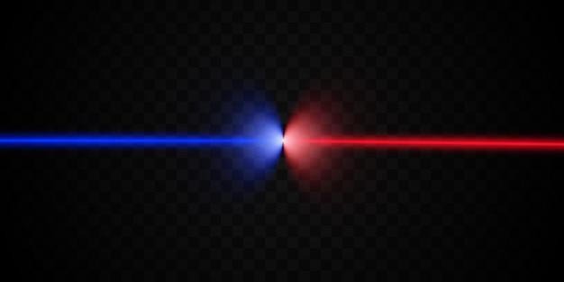 レーザースキャナー。透明な背景に明るく美しいレーザー光線。