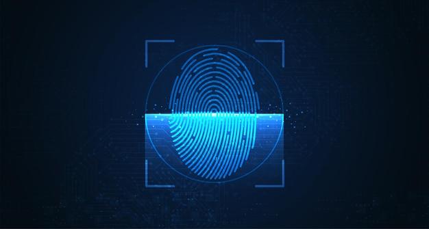 デジタル生体認証セキュリティ技術の指紋のレーザースキャン低ポリワイヤーアウトライン