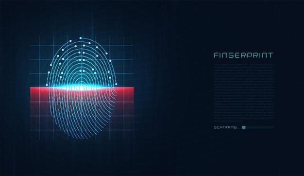 Лазерное сканирование отпечатка пальца цифровой биометрической технологии безопасности низкополигональный контур провода