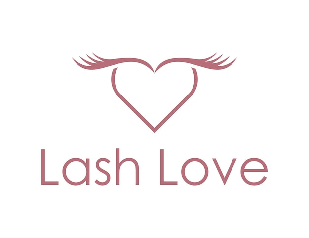 Lash with love heart for cosmetic and beauty simple sleek modern logo design