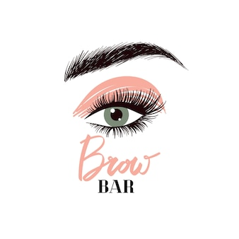 Lashes  and brow bar logo professional makeup and cosmetology lettering for beauty salon