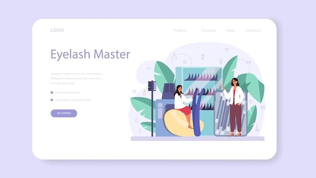 Lashmaker concept web banner or landing page