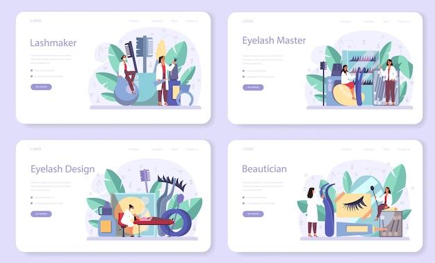 Набор веб-баннера или целевой страницы концепции lashmaker. салон красоты процедура. женский персонаж накладывает накладные ресницы в салоне.