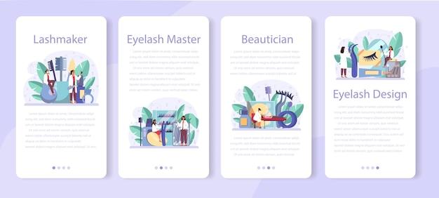 Lashmaker mobile application banner set. beauty center procedur. female character puting fake eyelashes in salon.