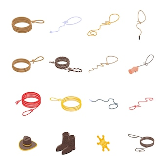 Lasso icons set. isometric set of lasso vector icons for web design isolated on white background