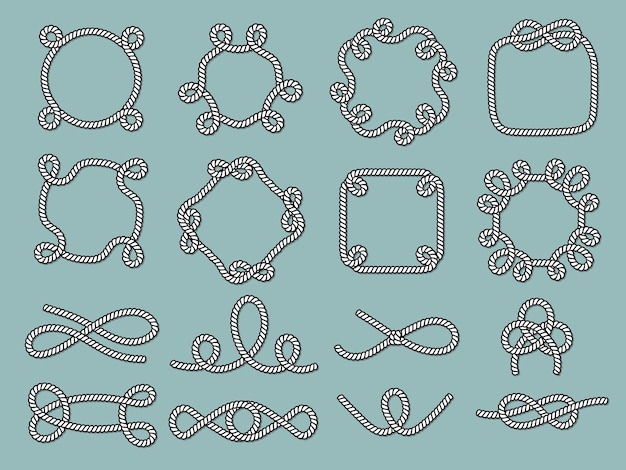 Lasso nautical frames. rope marine knot tied decorative circle shapes for labels design projects vector. cordage rope, marine knot and node illustration
