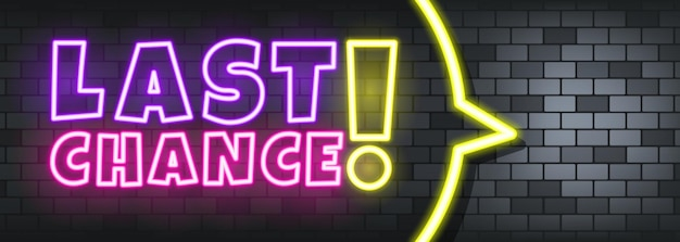 Last chance neon text on the stone background. last chance. for business, marketing and advertising. vector on isolated background. eps 10.