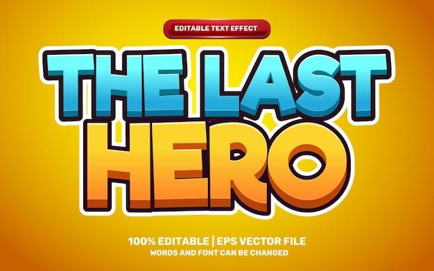 The last hero games adventure cartoon comic game 3d editable text effect
