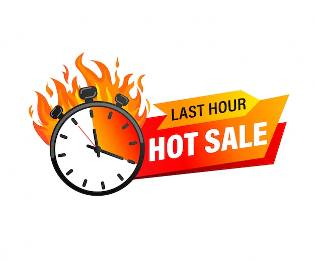 Last hour offer banner. sale countdown badge. hot sales limited time only.