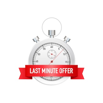 Last minute offer button sign, alarm clock countdown.  illustration.