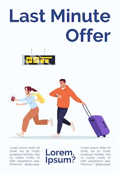 Last minute offer poster template. passengers in hurry. travelers rush to plane. commercial flyer design with semi flat illustration. vector cartoon promo card. airline services advertising invitation
