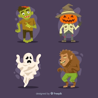 Lat design of halloween character collection