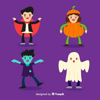 Lat design of halloween kid collection