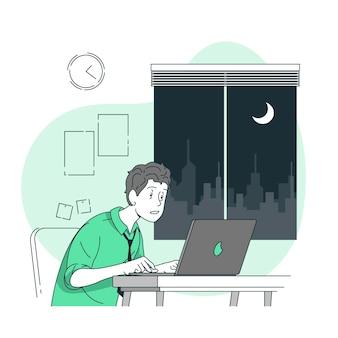 늦은 밤 컨셉 일러스트