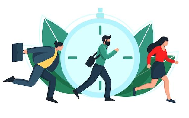 늦은 개념. 사람들은 일하기 위해 서두르고, 남자는 달리고, 플랫 만화 스타일의 일러스트레이션.