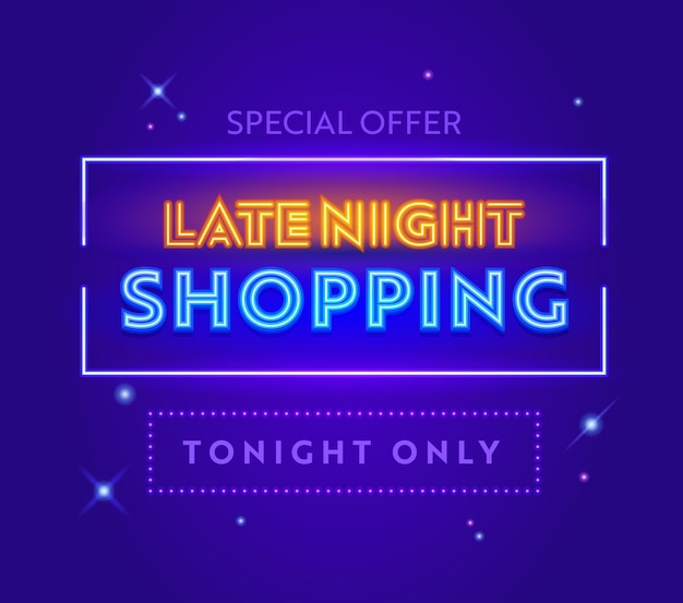 Late night sale, special offer advertising banner with typography on blue background with glowing stars. design for shopping discount