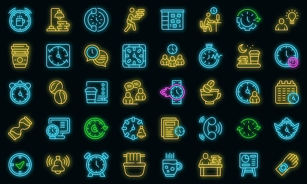Late work icon. outline late work vector icon neon color on black