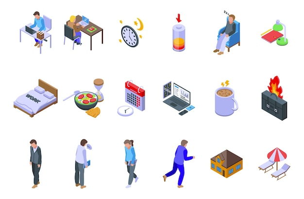 Late work icons set isometric vector. daily hour. morning time