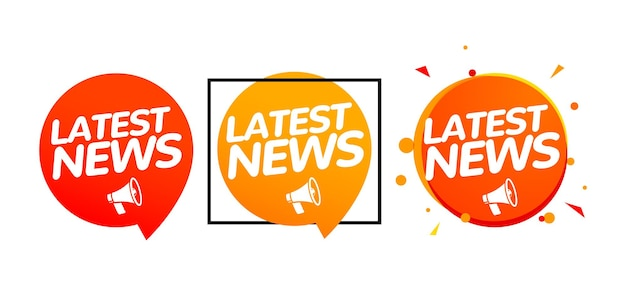 Latest news breaking report. daily newspaper or news report banner icon concept.