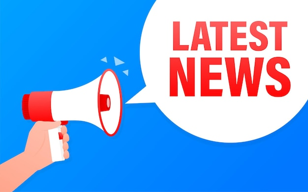 Latest news megaphone blue banner.   illustration.