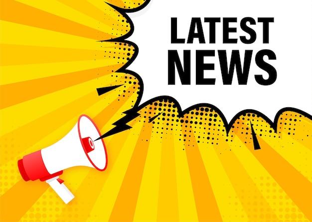 Latest news megaphone yellow banner.   illustration.
