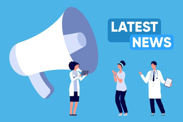 Latest news. update medical breaking information, happy doctors communications. megaphone and tiny people medical staff illustration. final of epidemic vector concept. medical news about coronavirus