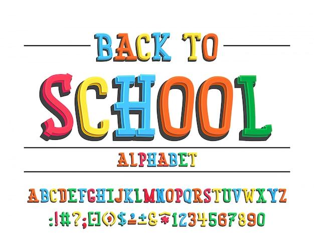 Latin alphabet - badge back to school.
