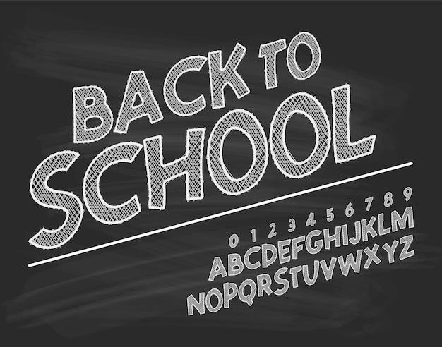 Latin alphabet chalk - badge back to school.