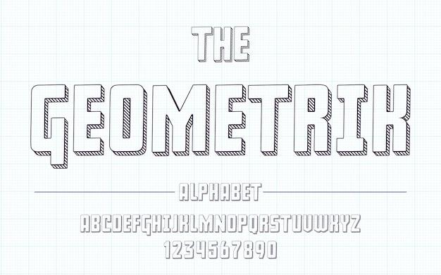 Latin alphabet - geometric font in cute sketch 3d style.